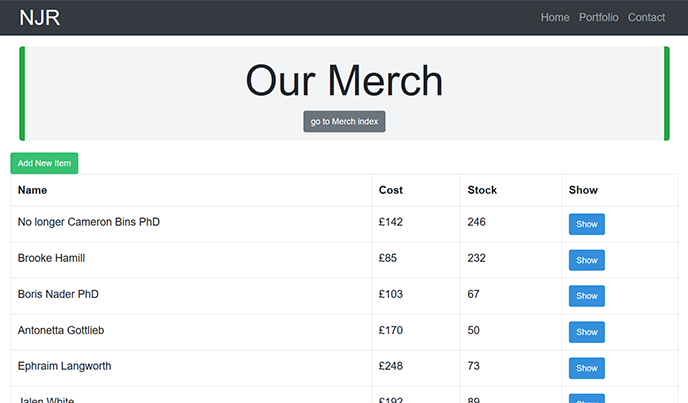 Screenshot of the 'Merch Manager' project